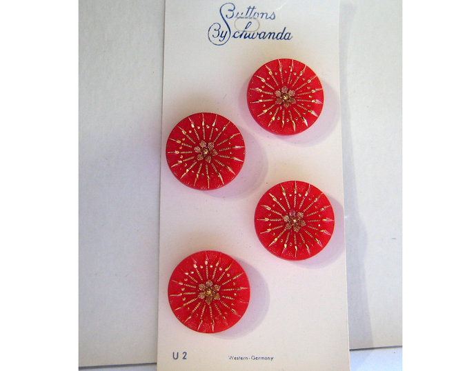 Red Glass Buttons with Gold Luster Design 2792-8 Vintage 1950s