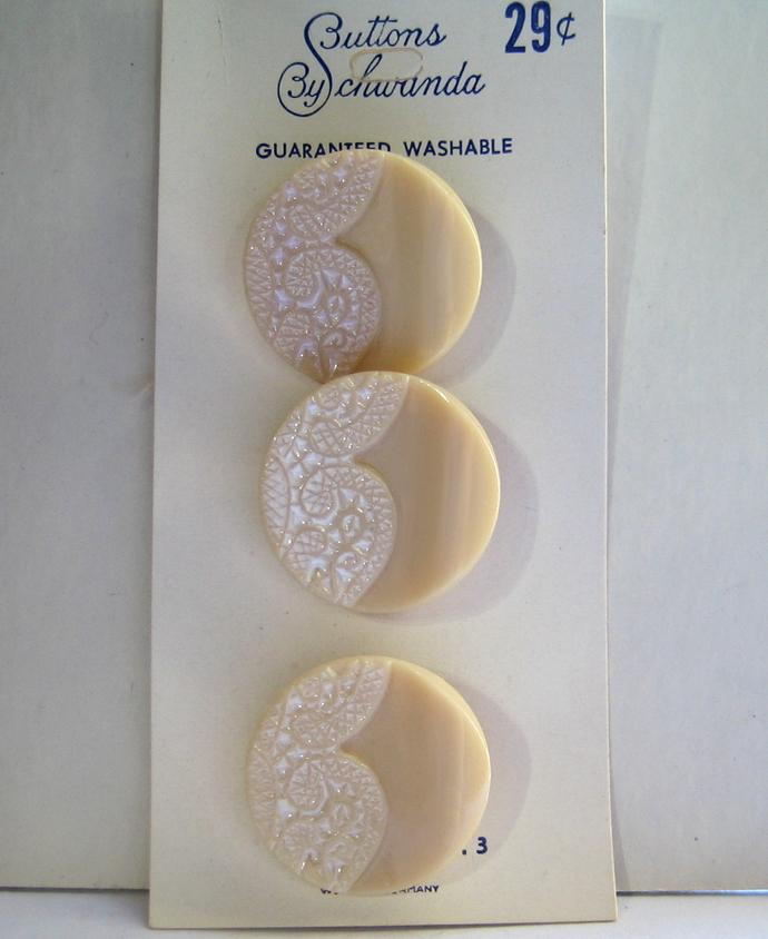 Tan Glass Buttons with White Enamel Paint Lace Design Vintage 1950s