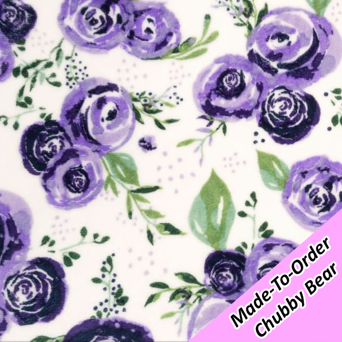 MADE-TO-ORDER CHUBBY BEAR: Purple Roses Minky