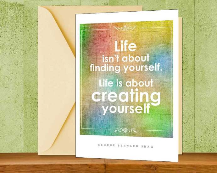 George Bernard Shaw Inspiration Quote Greeting Card, Printable Colorful Instant