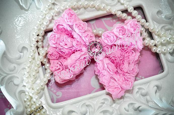 Pink Chiffon Rosette Bow Headband with Rhinestone Button