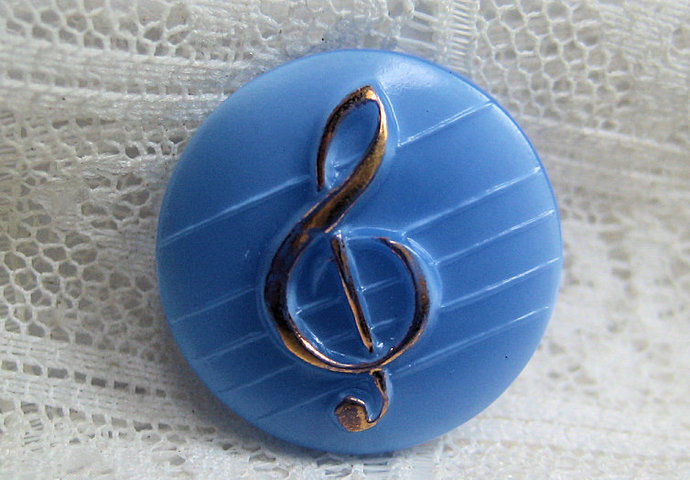 Light Blue Glass Button with Gold Luster Treble Clef 7147-8 1950s