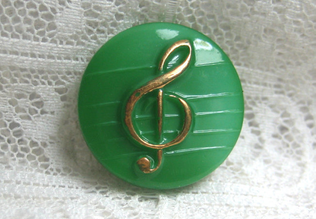 Green Glass Button with Gold Luster Treble Clef 7147-8