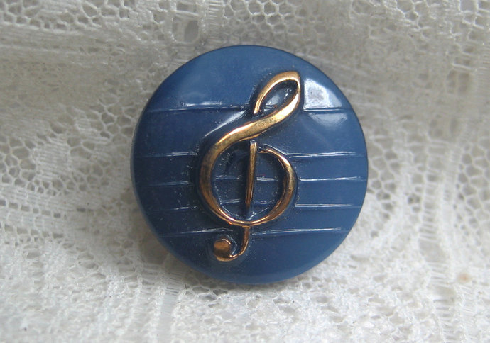 Dark Blue Glass Button with Gold Luster Treble Clef 7147-8