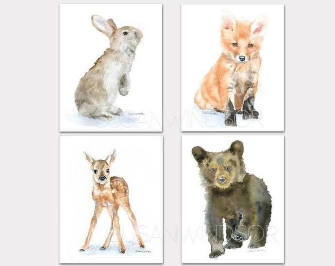 Woodland Watercolor Animal Art Prints - Fox Deer Bear Bunny