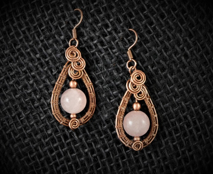Rose Quartz Dangle Earrings; 4 Spiral Wire Wrapped Woven Earrings; Gift for her