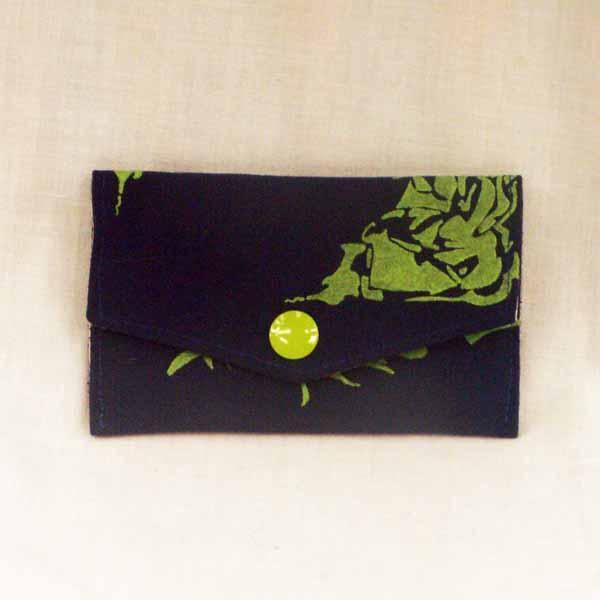 Lime Stenciled on Blue Back Pocket Purse