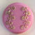 Pink Glass Button with gold luster floral 2795-10 Vintage 1950's