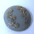 Gray Glass Button with gold luster floral 2795-10 Vintage 1950's