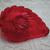 Medium size Beautiful Transparent Red Glass Leaf Realistic Button Vintage