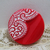 """11/16"""" Molded and Enamel Painted Lace Pattern on Red Vintage Glass Button"""