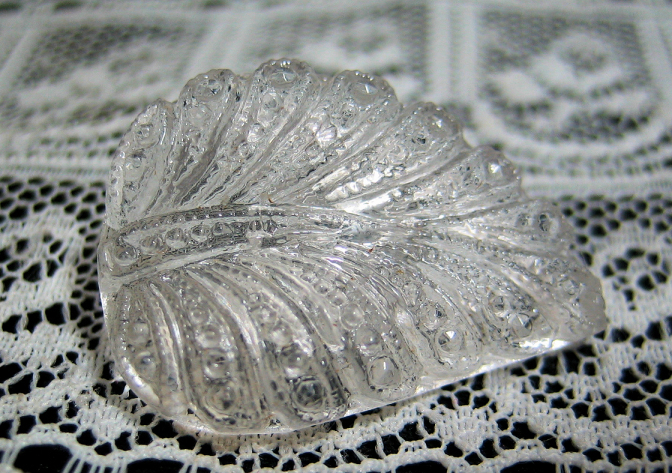 Clear Glass Leaf Realistic Button Vintage