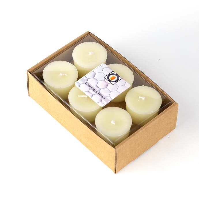 6 Pack 15 Hour 100% White Unscented Beeswax Votive Candle Hand Poured By