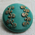 Teal Glass Button with gold luster floral 2795-10 Vintage 1950's