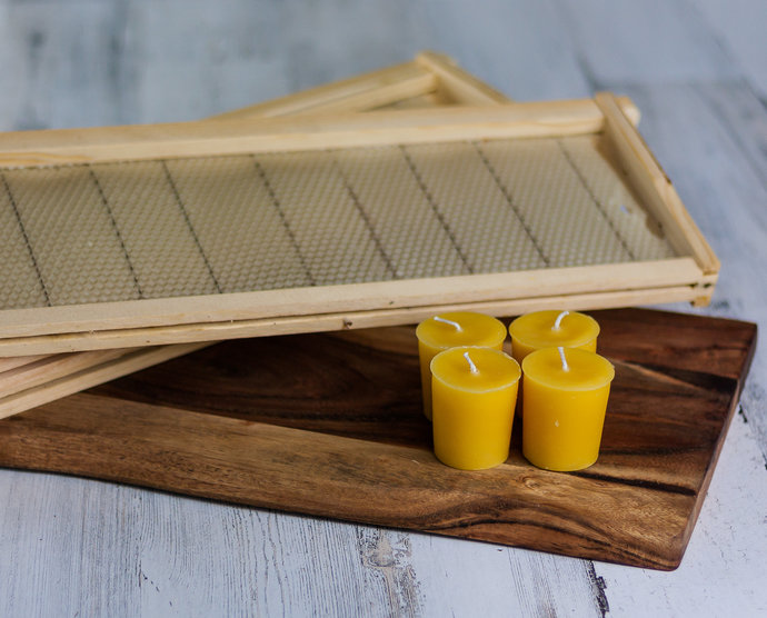 6 Pack Natural Beeswax Votive Candle Set | Beeswax Candle | Cotton Wick Candle |