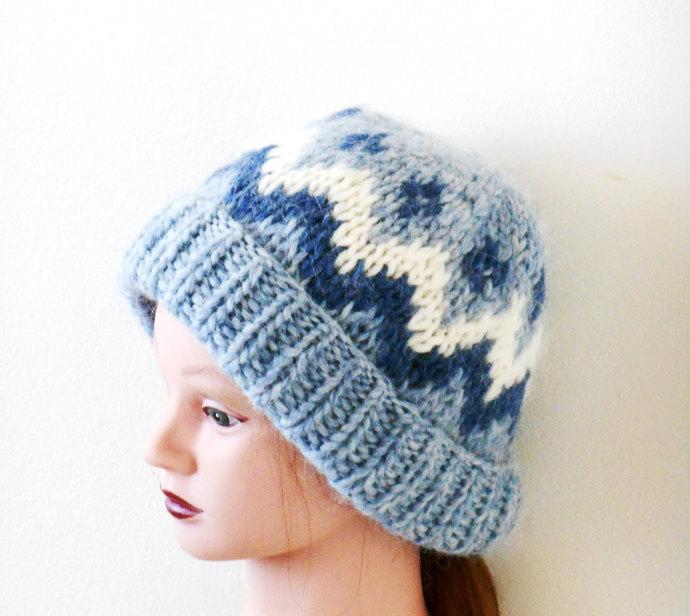 Unisex Blue Knitted Woolen Hat