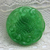 Green Glass Moonglow Button Imitation Thread Center Vintage