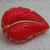 Vintage Red Glass Leaf Button with gold luster