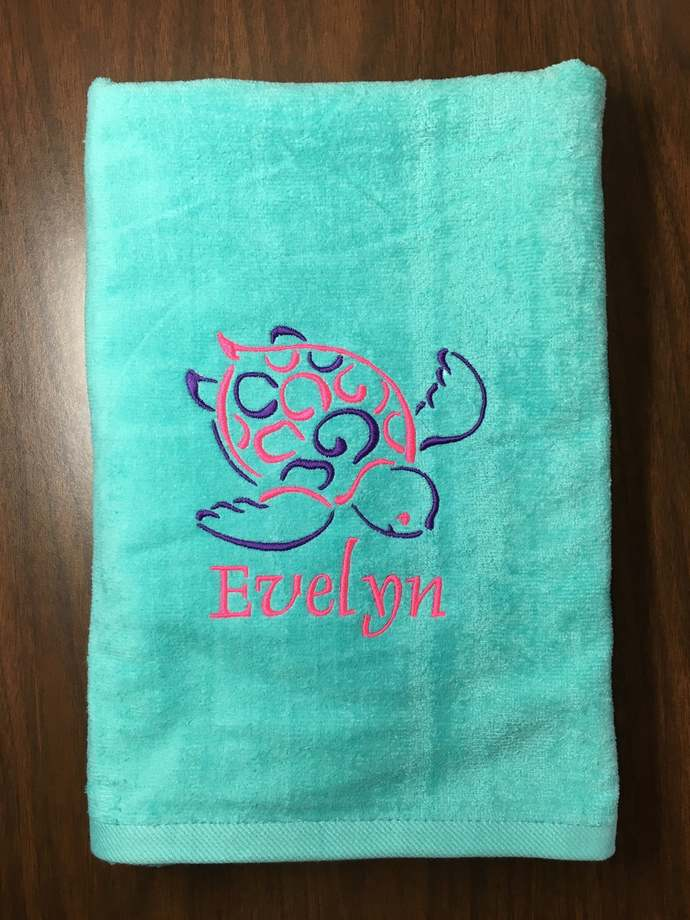 Aqua personalized beach towels perfect for kids and adults, beach / bath towels,