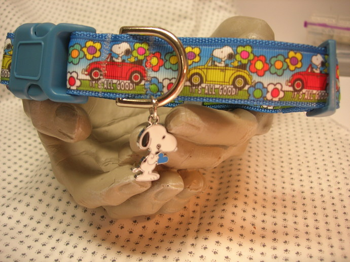 "Snoopy Beagle Spring Summer flowers out for a Drive 1"" wide adjustable Dog"