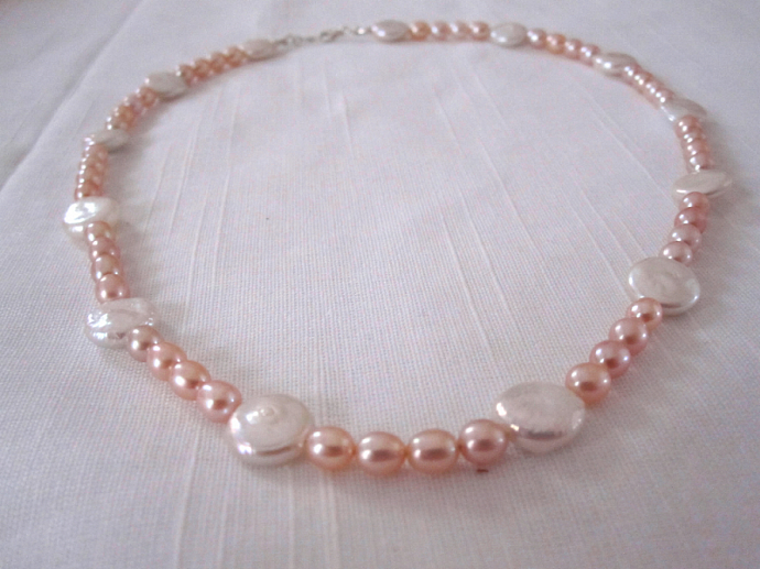 """18"""" Pink Rice Pearl and White Coin Pearl Necklace"""