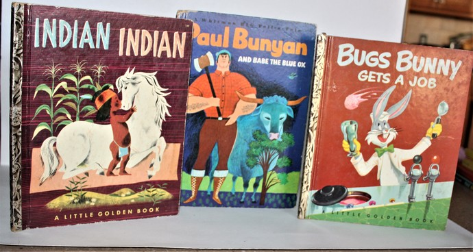 Vintage Little Golden Books-Bugs Bunny Gets A Job-1952-1st Edition-Indian Indian
