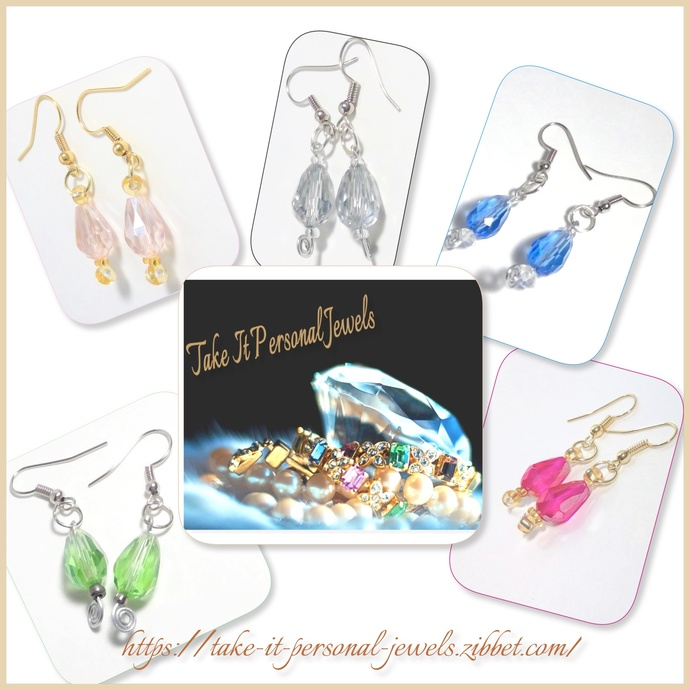 Crystal Teardrop Faceted Earrings Handmade Jewelry Sparkling Beads