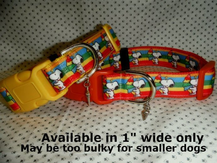 "Snoopy Beagle Dog Collar Ice Cream Summer 1"" wide adjustable Dog Collar or Leash"