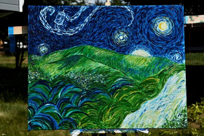 """""""And Into The Painting We Gogh!"""" 22 x 28 Acrylic Painting"""