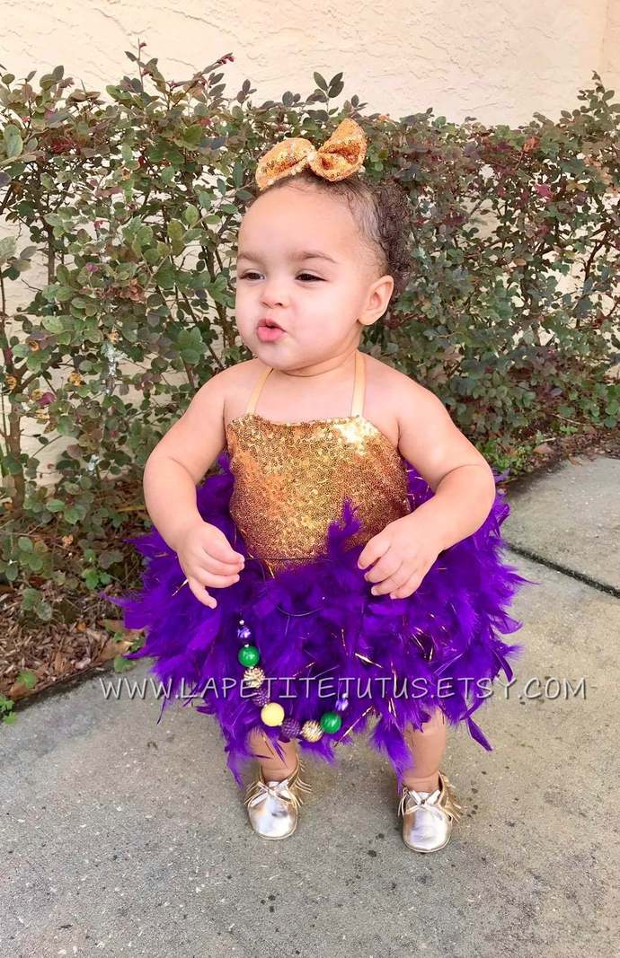 Mardi gras theme Sequin satin lined feather couture pageant outfit of choice
