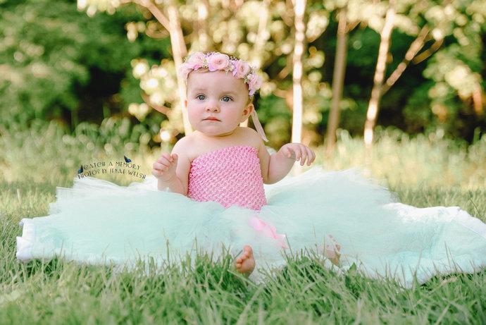 Spring time toddler baby infant girls mint tutu cake smash photo prop