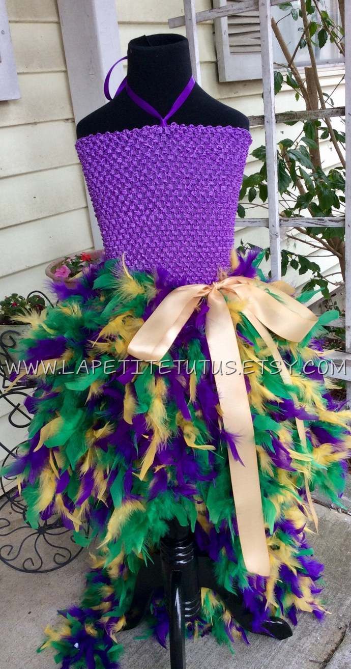 Mardi gras tutu dress feather edge outfit of choice pageant gold ribbon girls