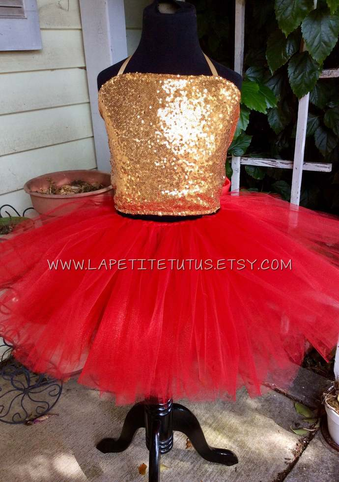 Sequin satin lined top tutu 2 piece couture pageant outfit of choice Christmas