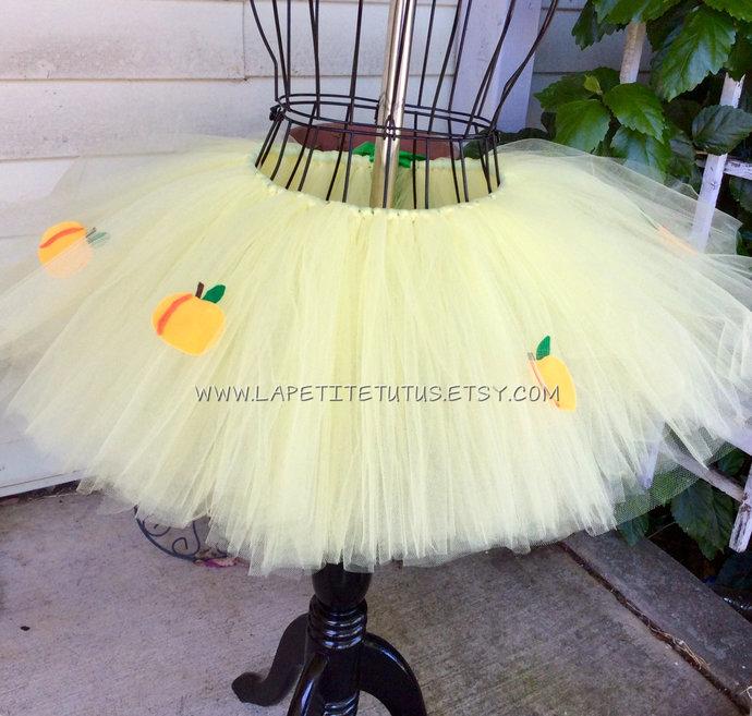 Peach tutu orchard halloween costume girls toddler baby shower gift handmade