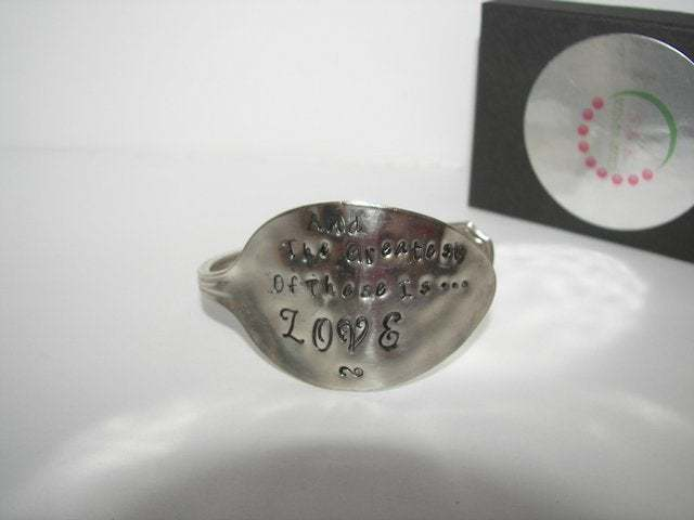 The greatest of these is love vintage silverware spoon cuff bracelet, spoon