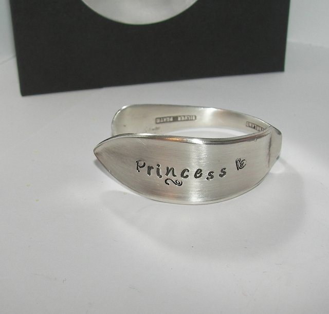 Princess vintage silverware kids  cuff, personalized hand stamped cuff bracelet,