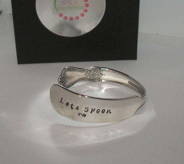 Let's spoon  vintage silver plate silverware cuff, personalized hand stamped