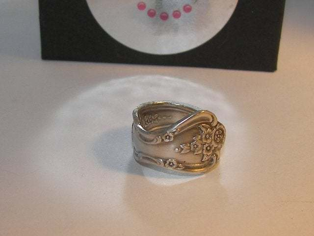 vintage silverware spoon ring, custom spoon jewelry, wrap spoon ring gift for
