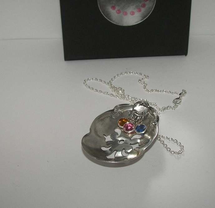 Vintage silverware spoon necklace, custom personalized hand stamped  silverware