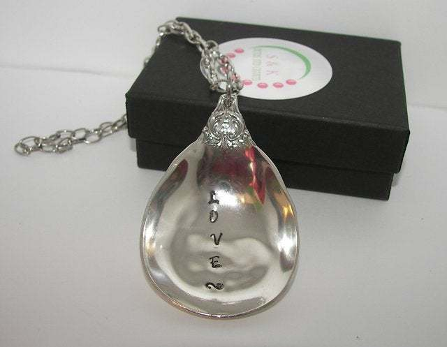Vintage silverware spoon necklace, custom personalized hand stamped  silverware