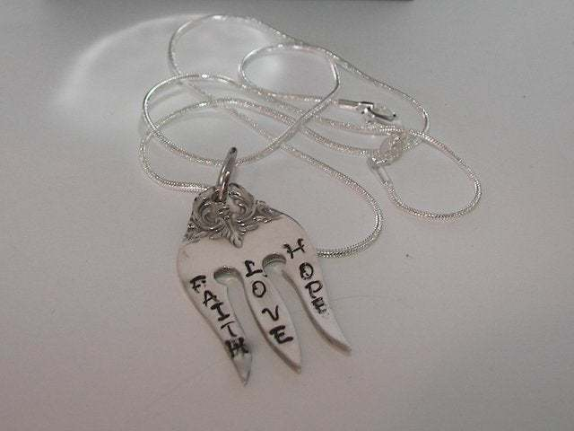 Vintage silverware fork necklace, custom personalized hand stamped silverware