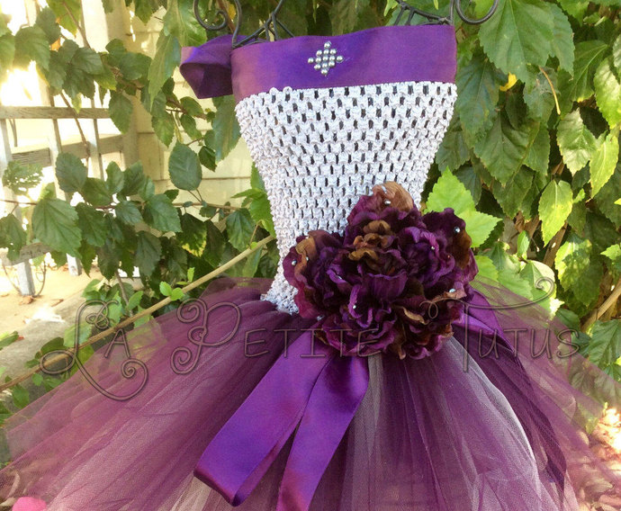 Purple flower girl toddler custom pearl satin ribbon photo prop tulle tutu dress