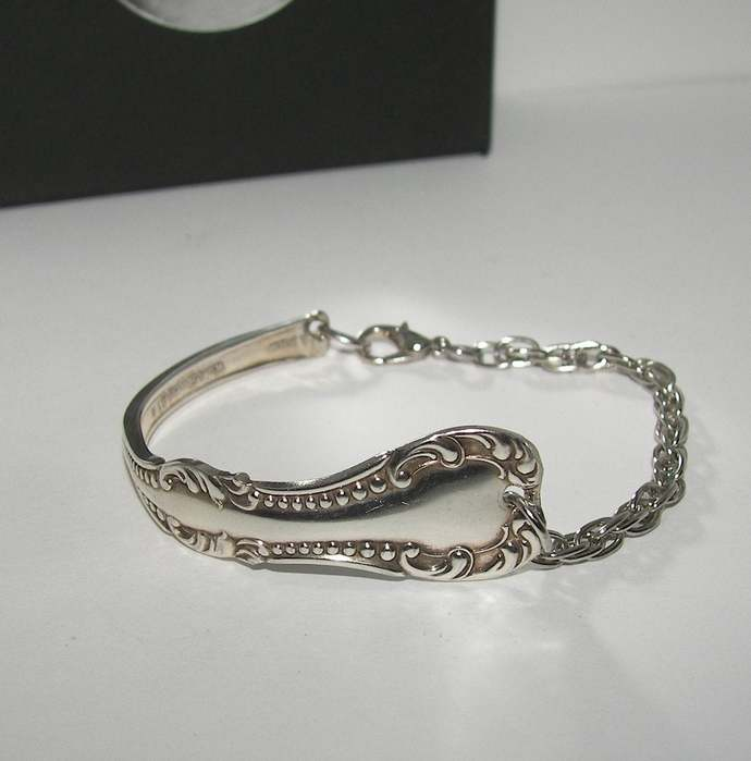 Custom 1865s Rogers vintage silverware cuff bracelet , upcyled vintage spoon