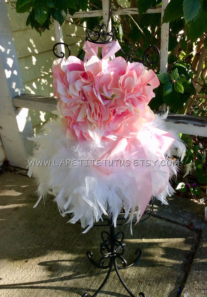 Pink floral pearl feather couture pageant outfit of choice easter dress cake