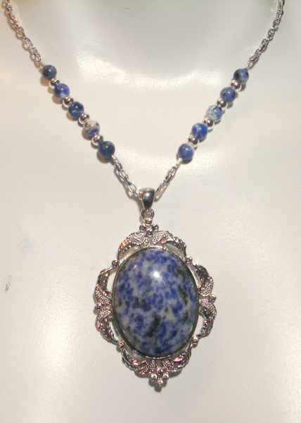 Chunky Sterling Silver Sodalite Pendant Necklace