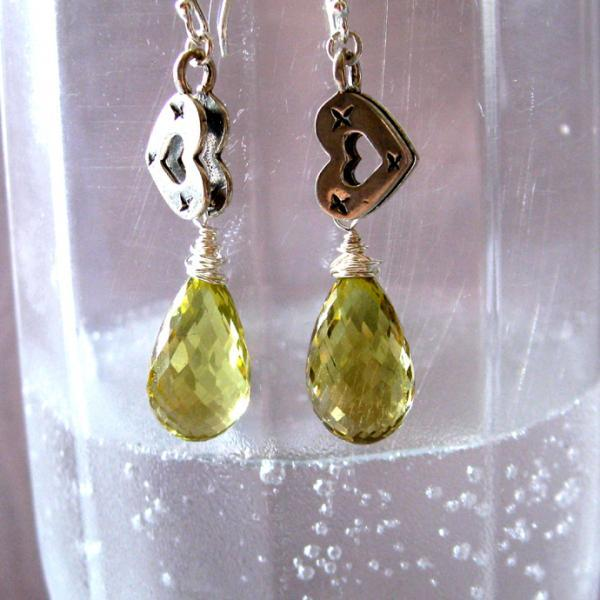 Lemon Drops & Vintage Hearts Silver Earrings