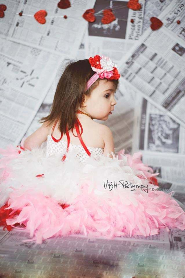 Couture feather triple layer red pink white valintines day pageant outfit of