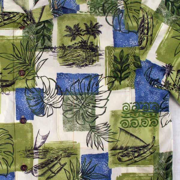 Green Canoes Aloha Shirt - Sizes M, L