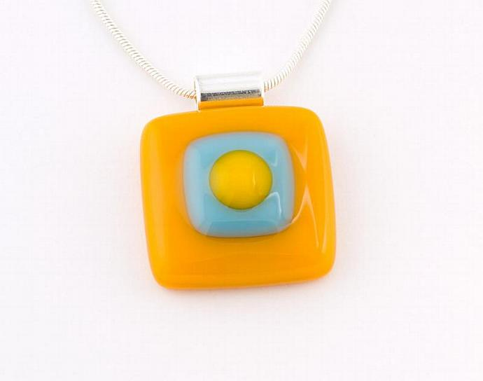 Fused Glass Pendant in Orange and Blue