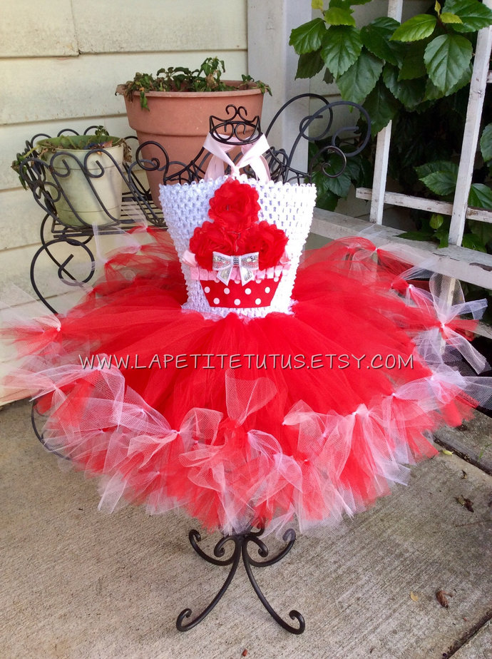 Valentines day petti tutu dress pageant shabby cupcake cake smash photo prop